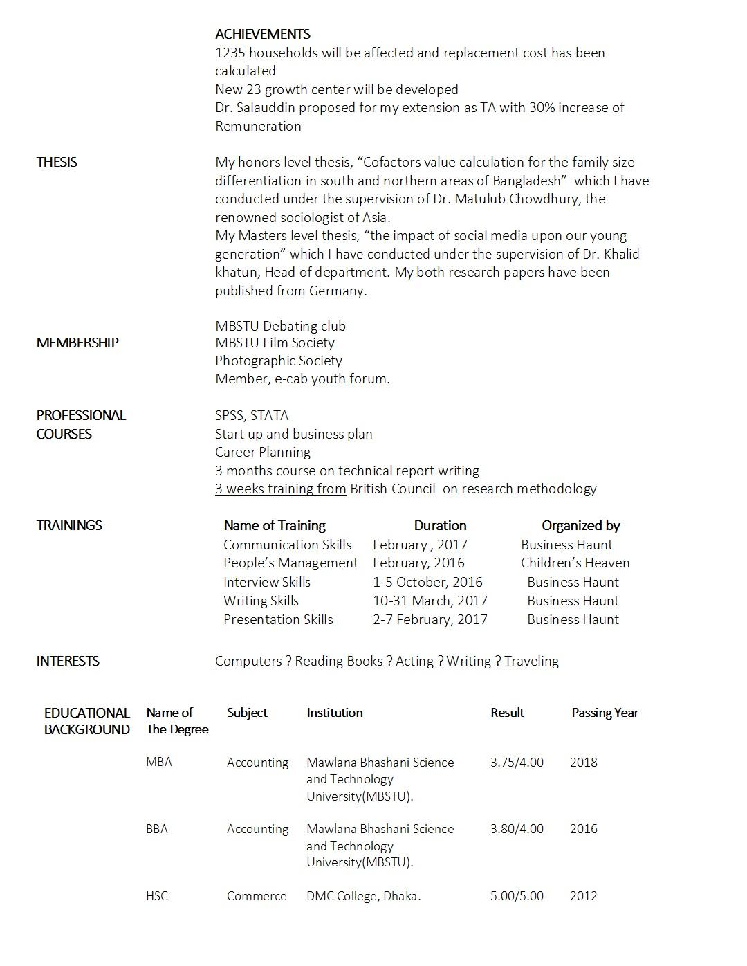 Fresher\'s CV Sample | Business Haunt